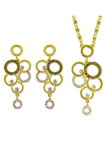 Gold Color Rhinestone Geometric Necklace Earrings Set