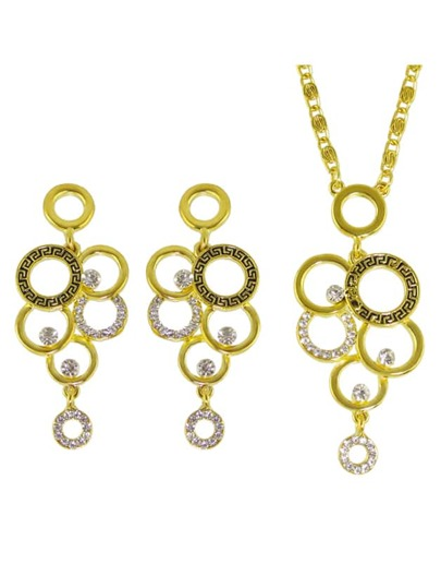 Collection de collier boucles d'oreille géométrique en strass - doré