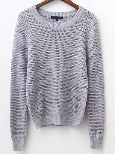 Grey Waffle Knit Ribbed Trim Sweater sweater161031215
