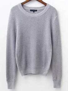 Grey Waffle Knit Ribbed Trim Sweater