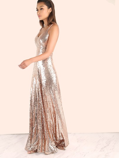 Backless Sequin Cami Maxi Dress ROSE GOLD -SheIn(Sheinside)
