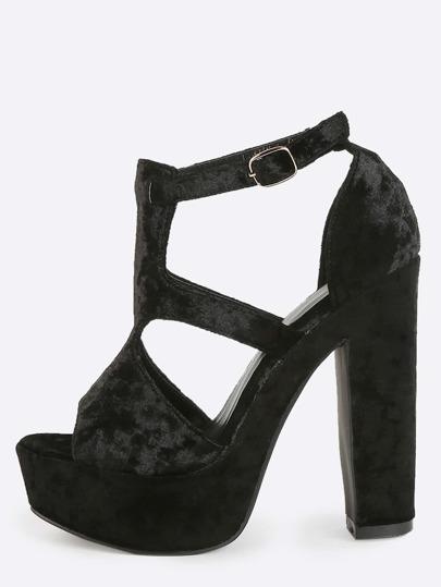 Platform Velvet Cut Out Heels BLACK