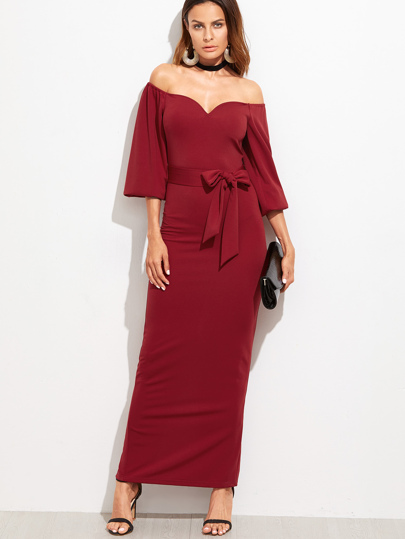 Sweetheart Off Shoulder Belted Dress