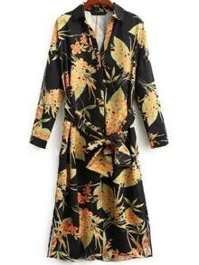 Robe chemise imprimé floral avec lacet