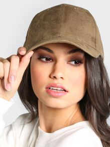 Faux Suede Baseball Hat OLIVE