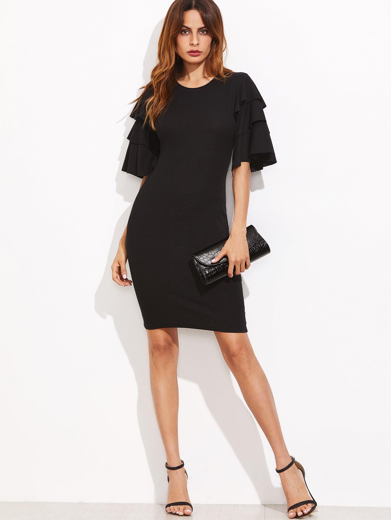 Layered Ruffle Sleeve Ribbed Dress burgundy contrast sheer neck layered sleeve ruffle dress