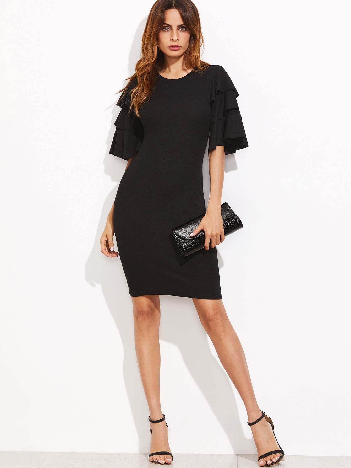 Layered Ruffle Sleeve Ribbed Dress dress161026717