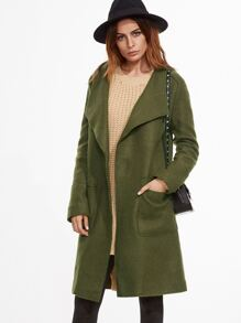 Army Green Shawl Collar Coat With Pockets
