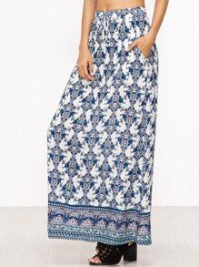 Blue Floral Print Drawstring Waist Skirt