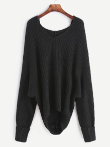 Black Ribbed Knit Hooded Sweater