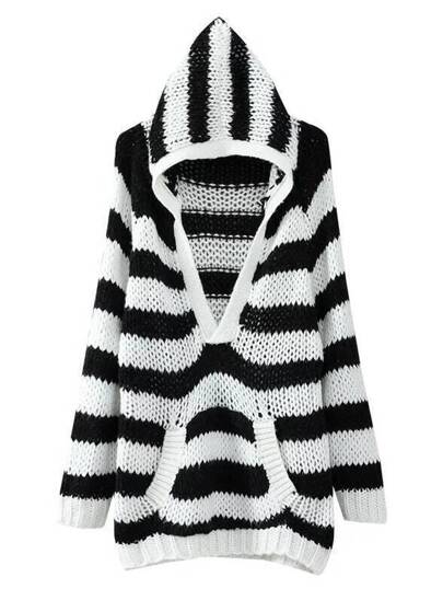 Black And White Striped Hooded Knitwear