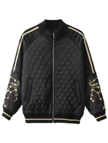 Black Crane Embroidery Sleeve Stand Collar Jacket