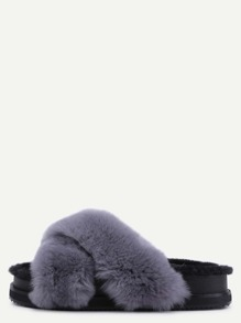 Grey Rabbit Hair Fur Lined Flatform Slippers