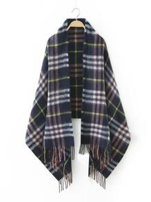 Navy Plaid Fringe Edge Scarf