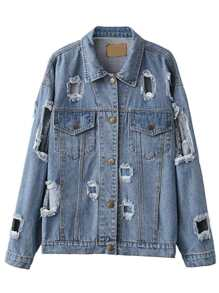 Blue Single Breasted Ripped Denim Jacket
