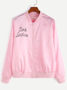 Pink Letter Print Ribbed Trim Jacket