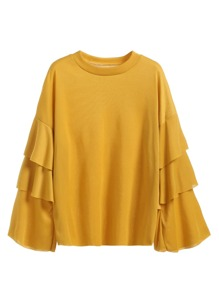 Yellow Ruffle Tiered Sleeve T-shirt