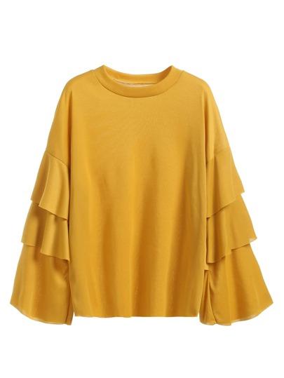 Yellow Ruffle Tiered Sleeve T-shirt