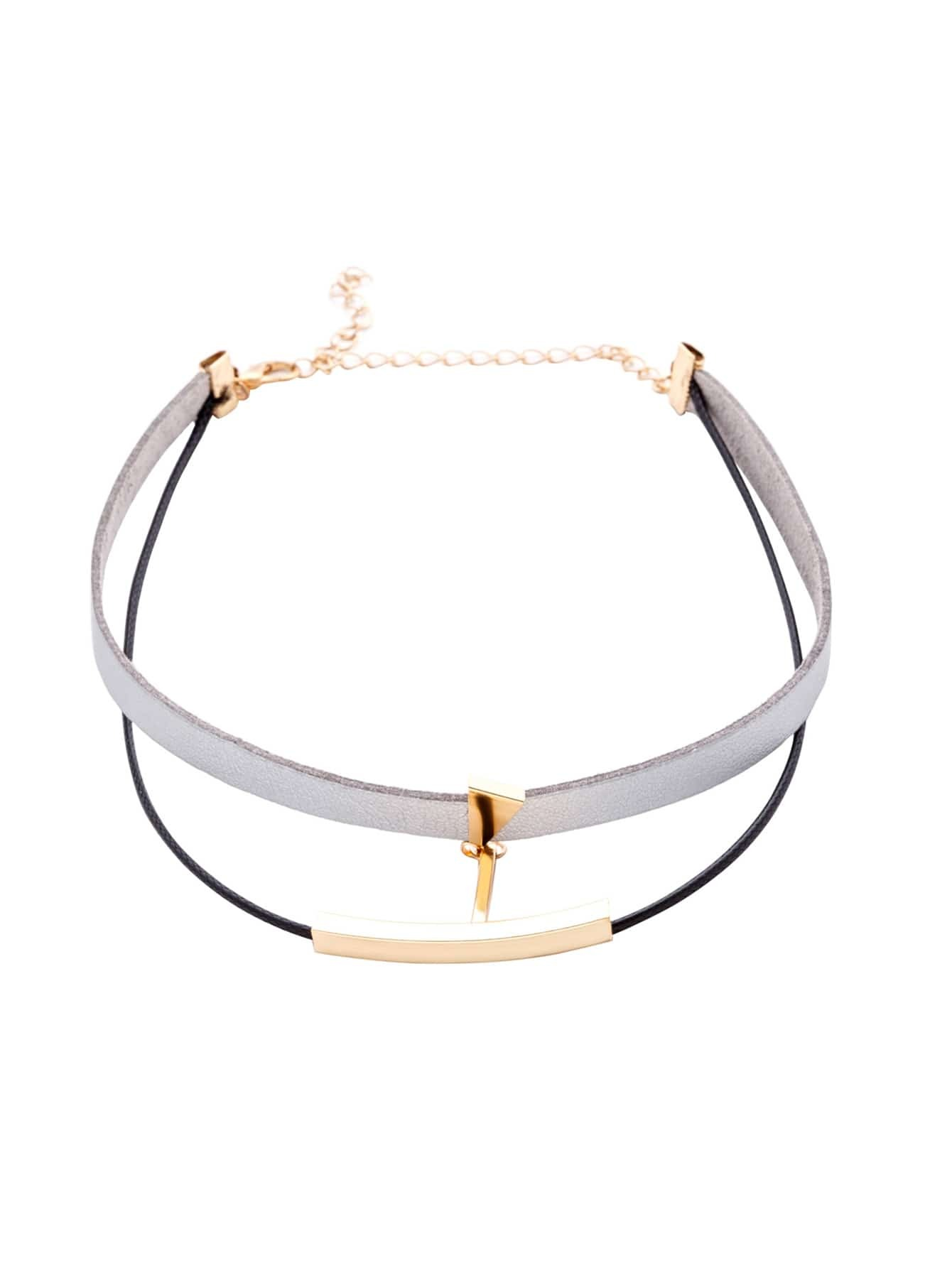 Grey Double Layer Metal Trim Choker Necklace