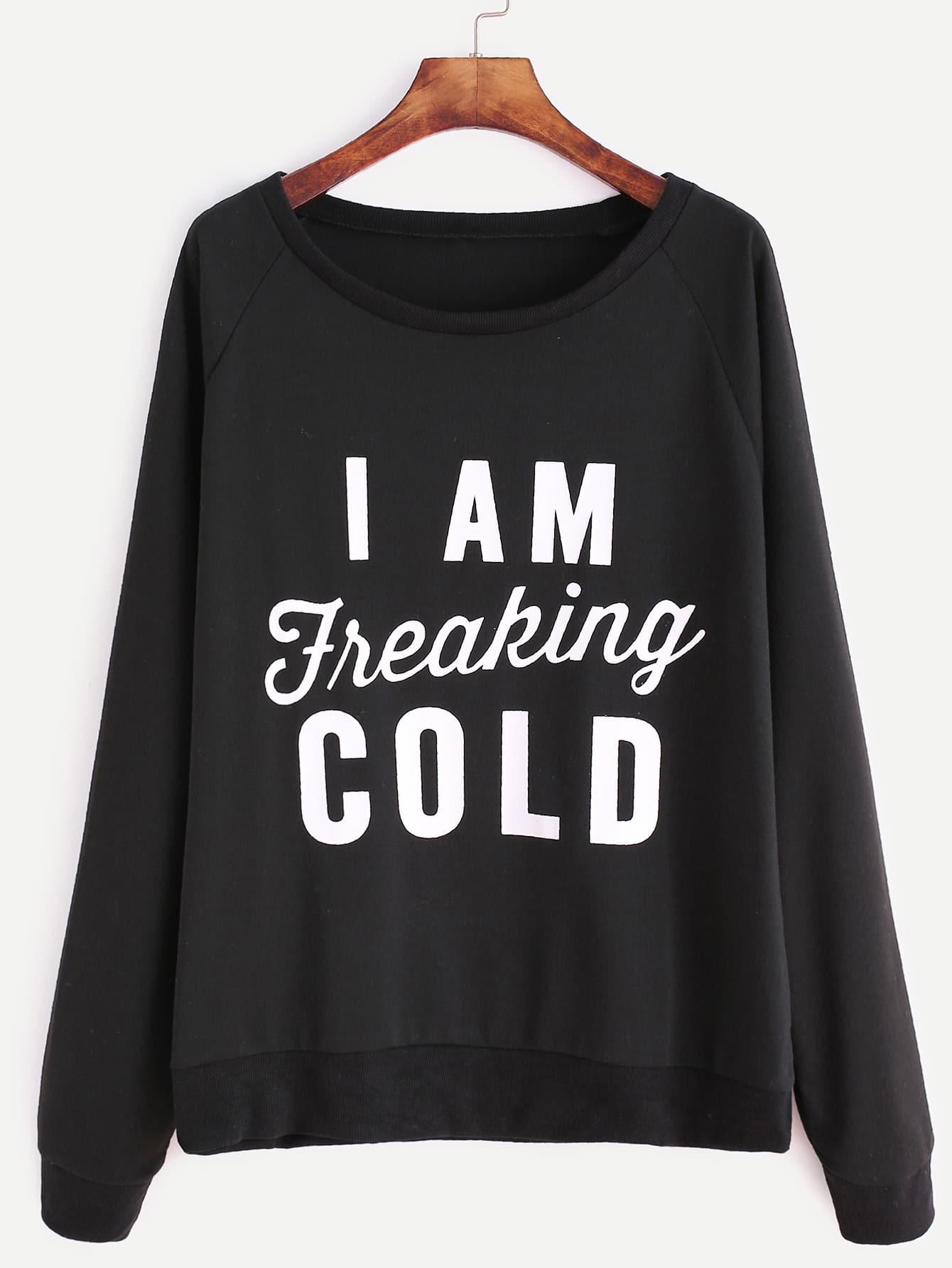 Black Raglan Sleeve Slogan Print Sweatshirt