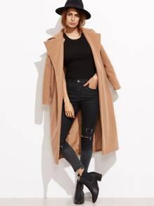 Camel Oversized Collar Open Front Coat
