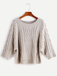 Grey Cable Knit Dolman Sleeve Sweater
