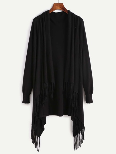 Black Fringe Trim Drape Collar Wrap Sweater Coat