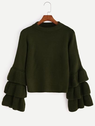 Jersey con volantes en manga - verde oliva