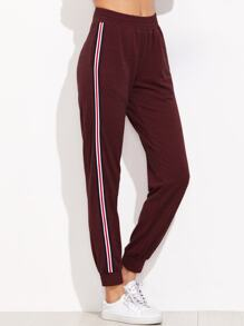 Burgundy Marled Striped Side Elastic Waist Sweatpants
