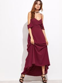 Burgundy Cold Shoulder Zipper Back Maxi Dress