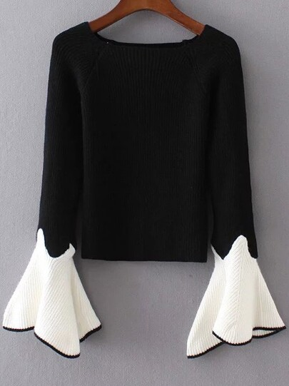 Black Contrast Bell Sleeve Knitwear