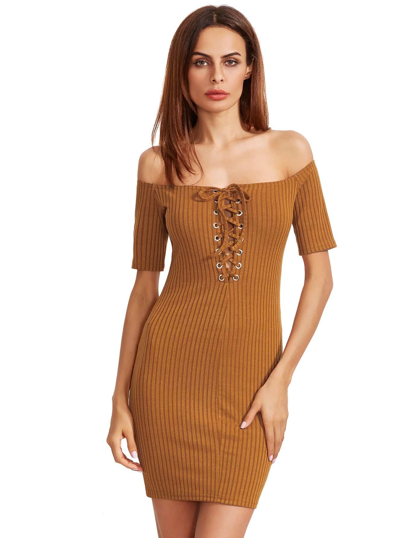 Фото Mustard Bardot Lace Up Bodycon Dress. Купить с доставкой