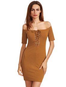 Mustard Bardot Lace Up Bodycon Dress