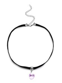 Black Velvet Colored Heart Pendant Choker Necklace
