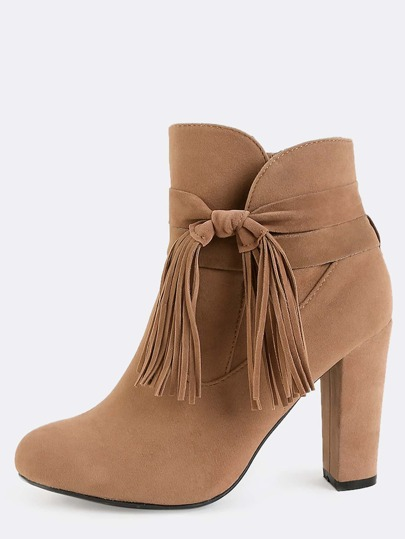 Wrap Fringe Suede Ankle Boots CAMEL