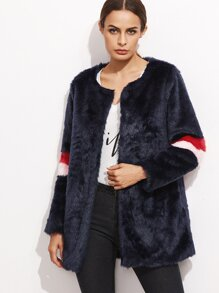 Navy Faux Fur Striped Sleeve Coat