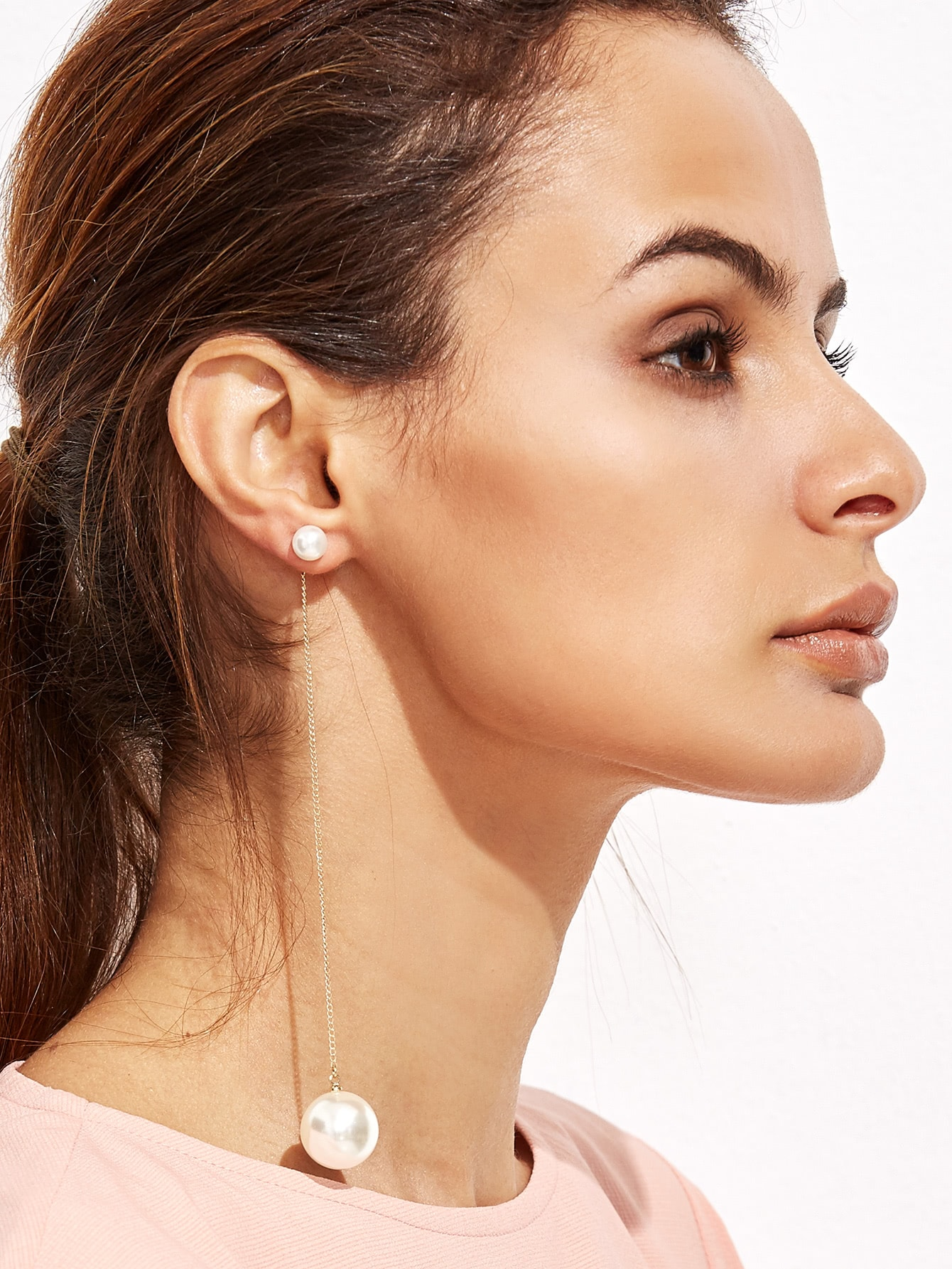 Single White Faux Pearl Long Drop Earring