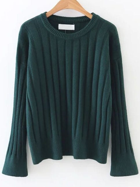 Dark Green Ribbed Bell Sleeve Sweater sweater161025235