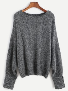 Dark Grey Batwing Sleeve Cuffed Cable Knit Sweater