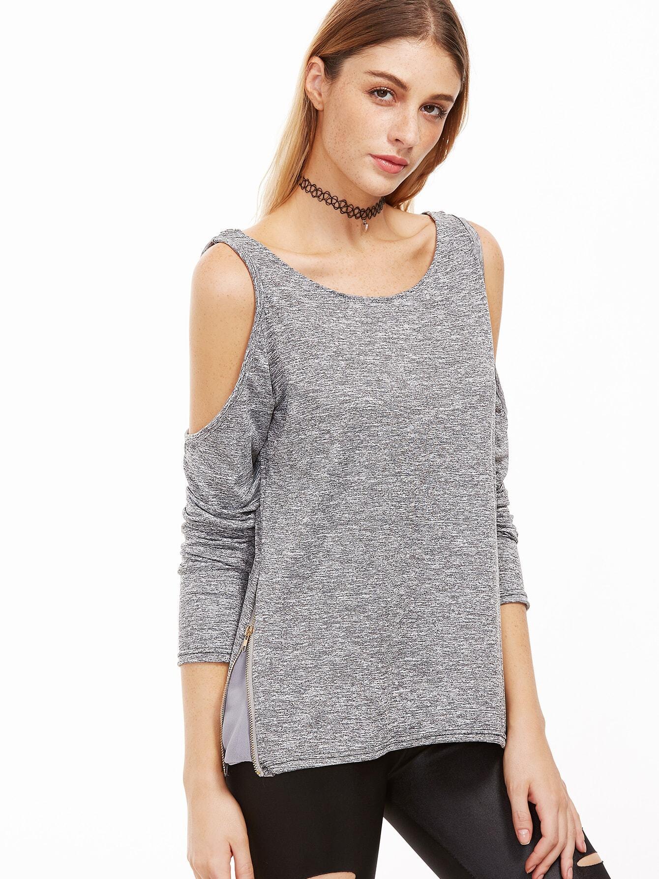 Grey Open Shoulder Zip Side T-shirtGrey Open Shoulder Zip Side T-shirt<br><br>color: Grey<br>size: L,M,S,XL