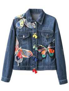 Blue Butterfly Embroided Denim Jacket