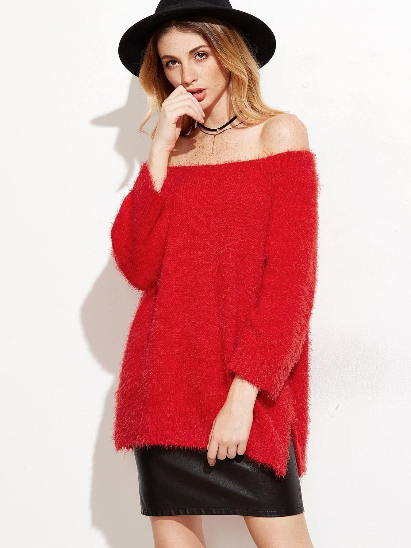 Red Off The Shoulder Slit Fluffy Sweater -SheIn(Sheinside)