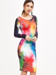 Multicolor Printed Long Sleeve Bodycon Dress