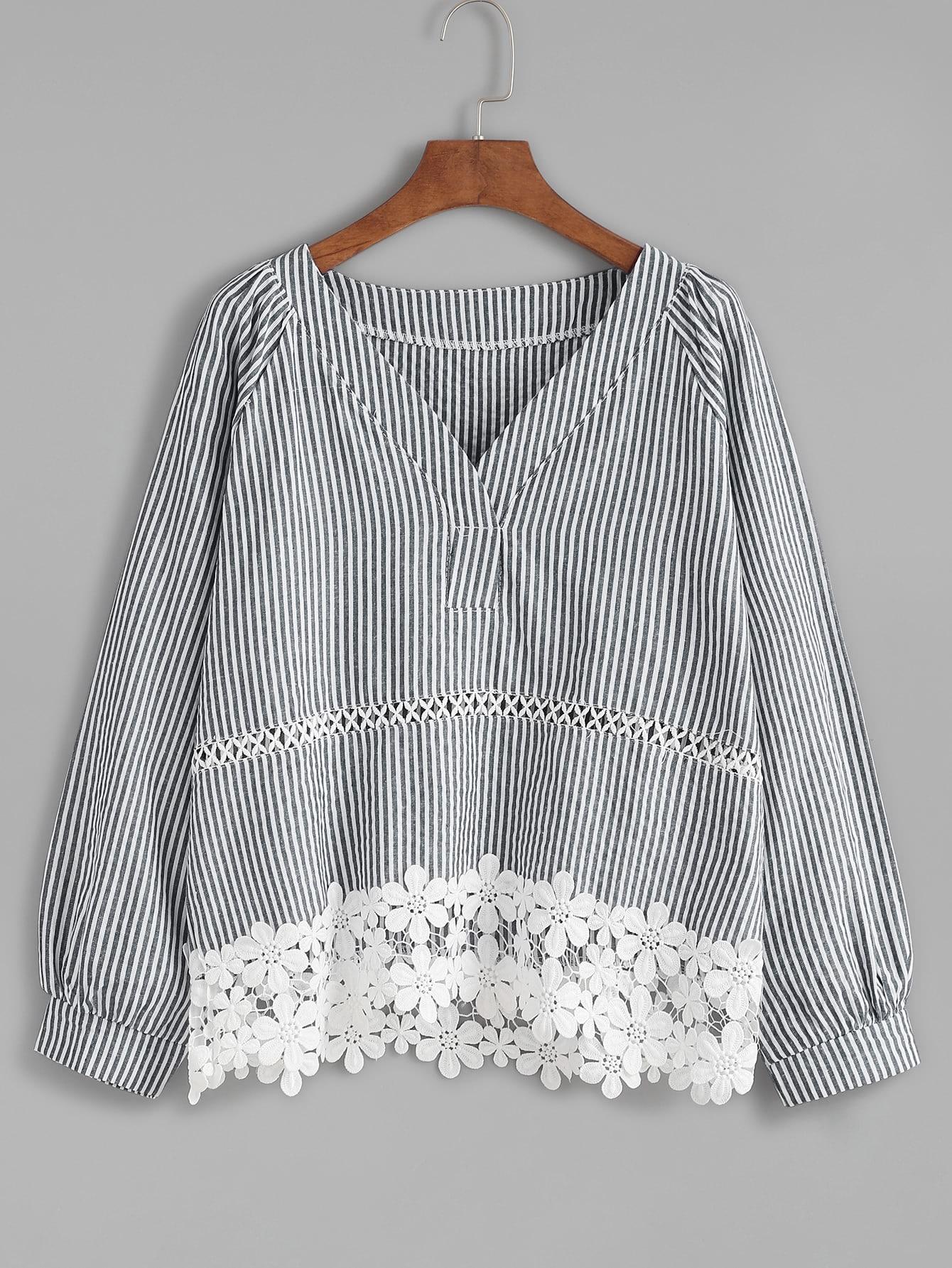 Vertical Striped V Neck Contrast Lace Hem Blouse blouse161010103