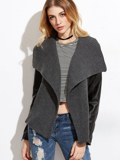 Faux Leather Ribbed Knit Drape Collar Jacket