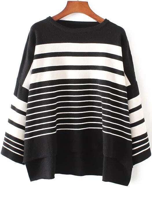 Black Striped Drop Shoulder Dip Hem Knitwear sweater161017227