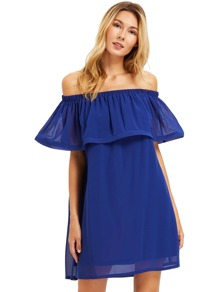 Royal Blue Flounce Layered Neckline Dress