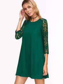Green Floral Lace Sleeve Tunic Dress