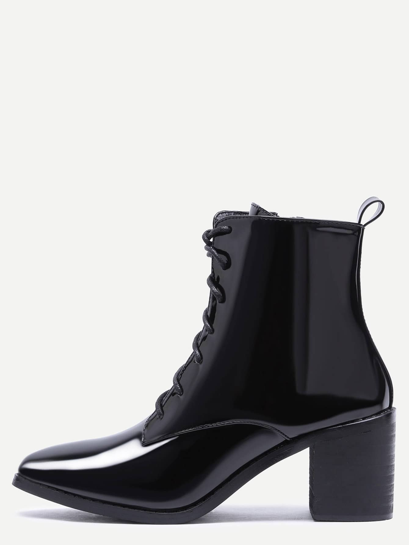 Black Patent Leather Point Toe Lace Up Booties shoes161021810