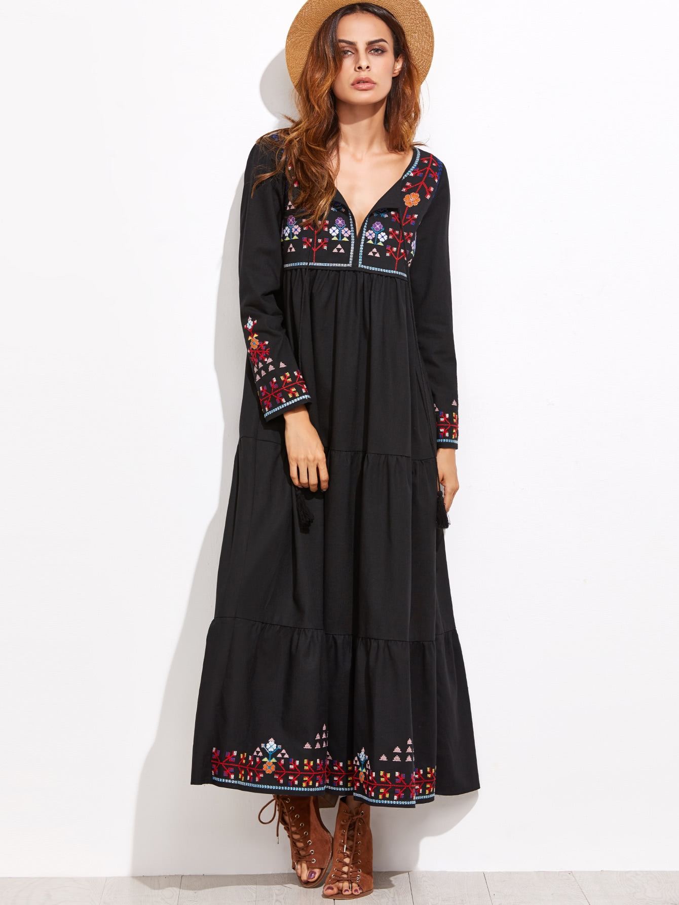 все цены на Embroidered Tassel Detail Tiered Seam Dress